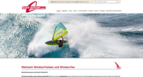 Surf & Action Company Oberhaching /  Responsive Webdesign CMS webEdition